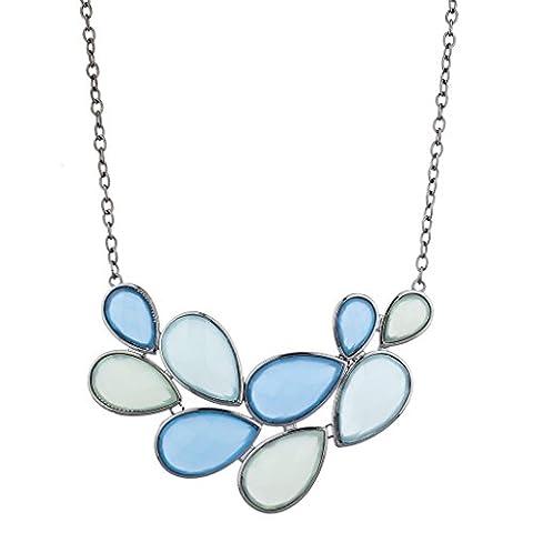 Lux Accessoires Silvertone Nuances Bleu en forme de goutte d'eau Pierre Collier plastron