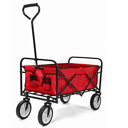 Merax Bollerwagen Faltbar, Outdoor Faltbarer Handwagen mit abnehmbarem Stoff für Vatertag Einkaufen Gewichtkapazität 150 kg (Rot)