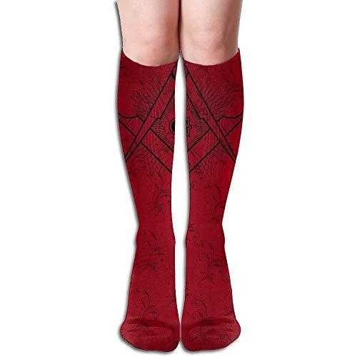 CVDGSAD Masonic Square & Compasses Symbol Running Long Sock Sportliche Socken