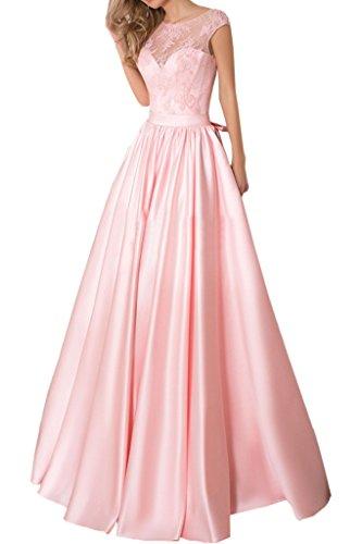 Promgirl House Damen Schoen Prinzessin A-Linie Spitze Abendkleider Ballkleider Hochzeitskleider Lang Rosa