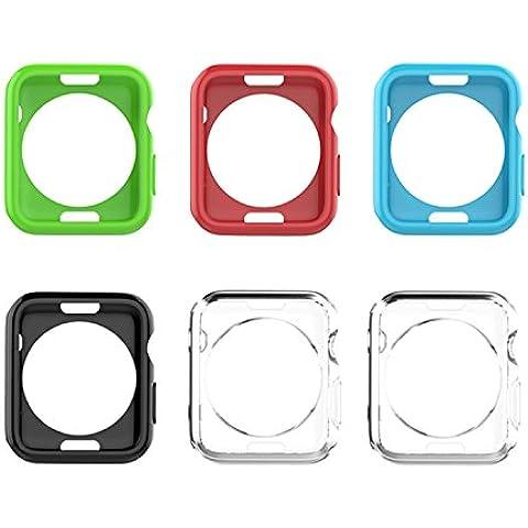 Moko Apple Watch SERIES 1 / 2 Funda 42mm - [6-paquete] Robusta Armadura Flexible Estilizada TPU Suave Funda Protectora para Apple Watch 42mm (2015), Cristal Claro & Multi Colores Llenado (No Ajuste Apple Watch 38mm 2015)