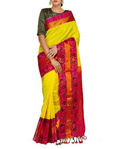 Unnati Silks Women Yellow Handloom Pochampally Ikat Kuppadam Silk Cotton Pattu Saree...