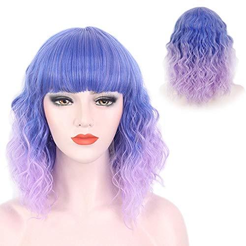 XIAOTANBAIHUO Perücke. Lila kurze Lockenperücke mit blauem Farbverlauf und Pony für Damen Coaplay Abendkleid (Farbe : Photo Color)