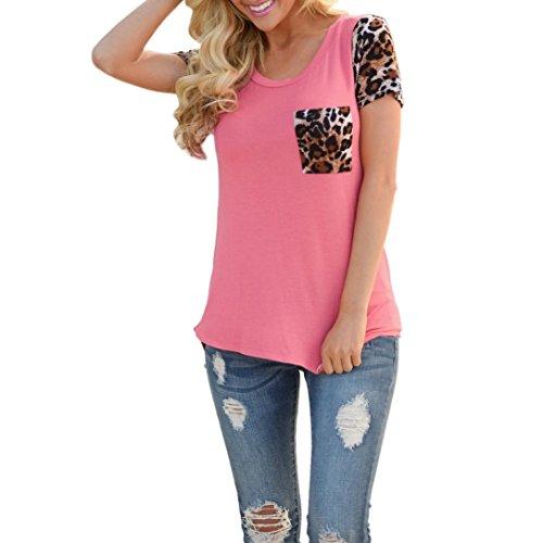 bluestercool-t-shirt-femme-leopard-splice-printing-pocket-blouse-a-col-rond-36-rose-vif