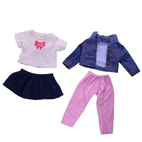 MagiDeal 4pcs Puppen Kleidung Set Für 18 '' American Girl Puppe - T-Shirt + Jeans Jacke + Minirock + Hose (Prinzessin Baby-puppe T-shirt)
