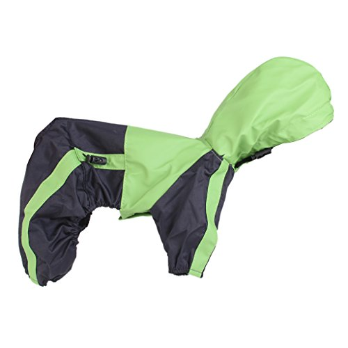 Imported PU Leather Pet Dog Puppy Raincoat Poncho Apparel Size L -Green with Black