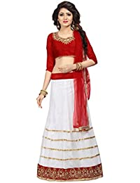 Florence Women's Cream Embroidered Semi Stitched Lehenga Choli(LG016)