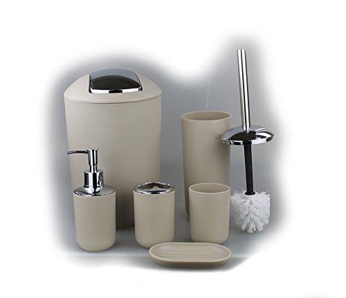 Set di 6 accessori da bagno, con dispenser di sapone, portasapone e spazzola per WC Beige Design 2