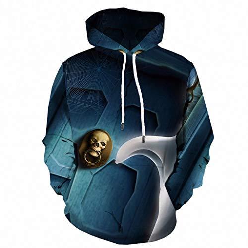 Bearbelly Herren Damen 3D Druck Halloween Kostüm Skull Hoodie Unisex Kapuzenpullover Sweatshirt - Herren Herbst Winter Gedruckt Drawstring Long Sleeve Sweatshirt für Paare, S-6XL (80 Motto Party Kostüm Für Paare)
