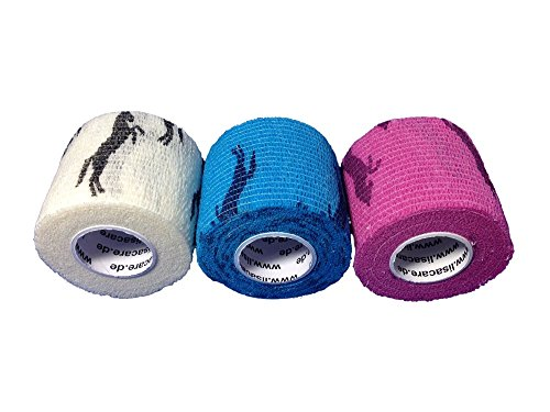 LisaCare Fixierbinde 5cmx4,5m   3er Set Motive: Pferde Weiß Blau Rosa   Kohäsive Bandage   Wundverband   Pflasterverband   Pferdebandage   elastisch, dehnbar, selbsthaftend, ohne Kleber