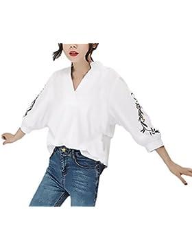 Lannister Fashion Blusas De Mujer Elegantes Primavera Verano Vintage Tops Bordadas De Flores Camisas 3/4 Manga...