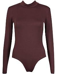 Purple Hanger - Body/Justaucorps Femme Éxtensible à Col Roulé Manches Longues Fermeture Pression