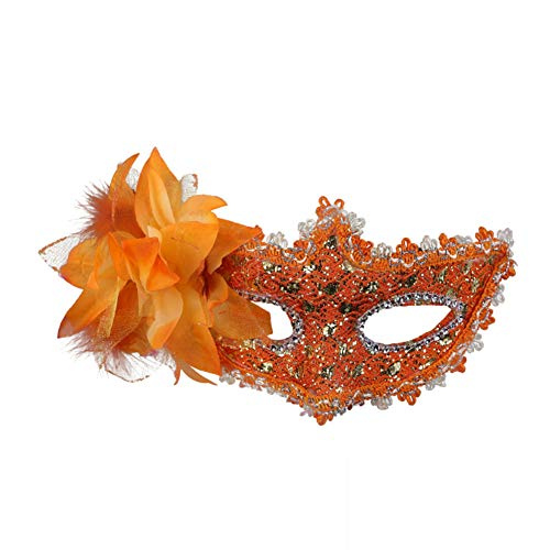 lujiaoshout Women,s venezianischer Stil Augenmaske Sexy Lace Hälfte mit Strass Kostüm Masquerade Karneval Maske Maske orange