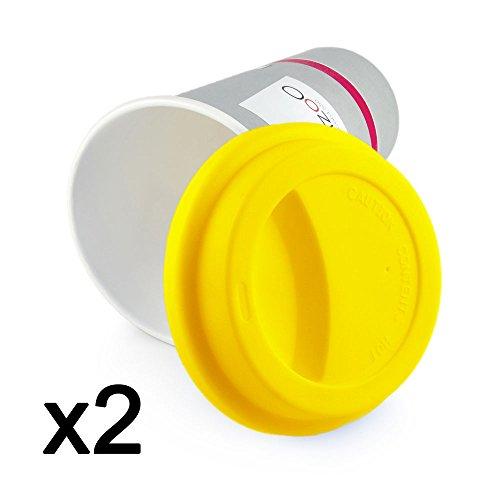 2er SET, modischer gelber Kaffeedeckel aus lebensmittelneutralem Silikon, Silikondeckel, Deckel,...