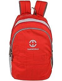 TANWORLD Melborn Red & Grey 15.6 Inch Polyester 31 Liter Unisex Laptop Backpack Bag TWLTBP08_Red_Grey