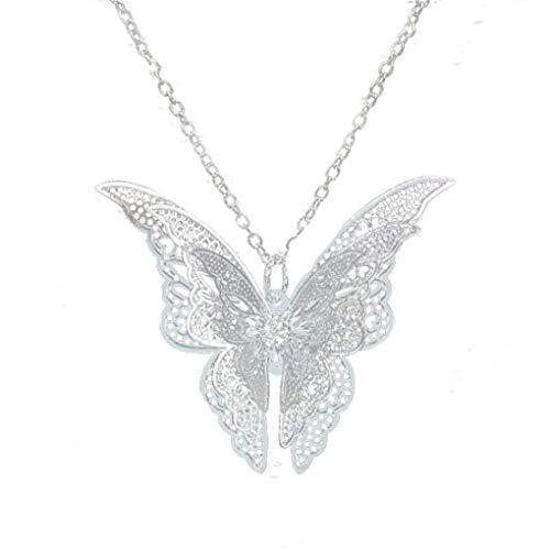 Dorical Damen Elegant Hohle Schmetterling Anhänger Reizend Halskette/Frauen Ohrringe Schmuck Simple Accessoire Promo(Silber-1)