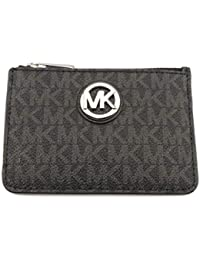 Michael Kors Black PVC Fulton Small Coinpouch with Key Chain