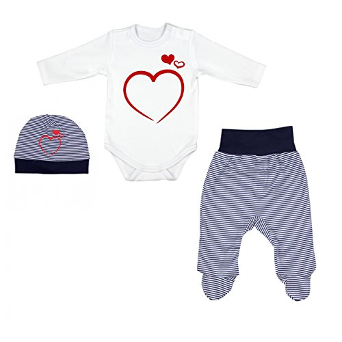 3er Set Baby Bekleidung Neugeborene Mädchen Jungen Langarm-Body mit Aufdruck Strampelhose mit Fuß Mütze, Farbe: Streifenmuster Dunkelblau, Größe: 68