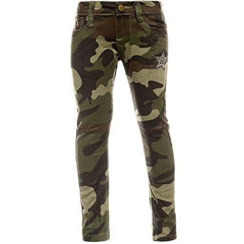 o Hose Camouflage Verstellbaren Bund Nieten 21880 Grün 116 ()