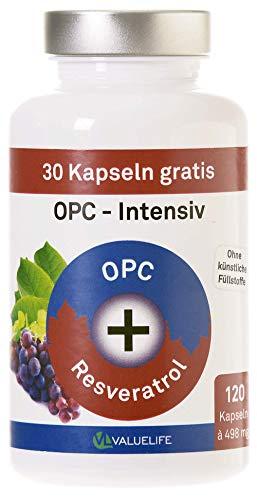 OPC Kapseln Intensiv: Franz. Traubenkernextrakt & Resveratrol - laborgeprüft & hochdosiert - Antioxidantien Komplex ohne Zusatzstoffe. 120 vegane Kapseln von VALUELIFE