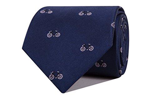 SoloGemelos - Corbata Azul Con Bicicletas En Rosa - Azul Rosa - Hombres - Talla Unica