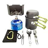 FYHCY Portable Kit Pentole Campeggio Set Multifunzione da Outdoor Cucina Backpacking Picnic Bowl Pan Pot Set per 1-2 Persone Viaggi Escursionismo e Campeggio
