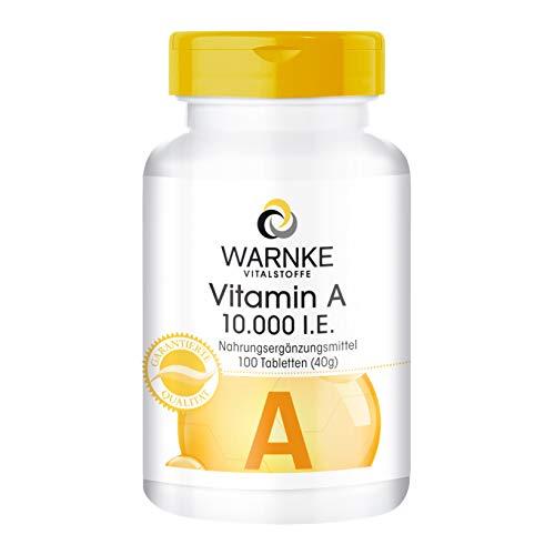 Vitamina A pura 10.000 U.I. - 100 compresse - Importante per pelle, mucose, tessuti e l'intestino/Essenziale nella formazione della porpora visiva