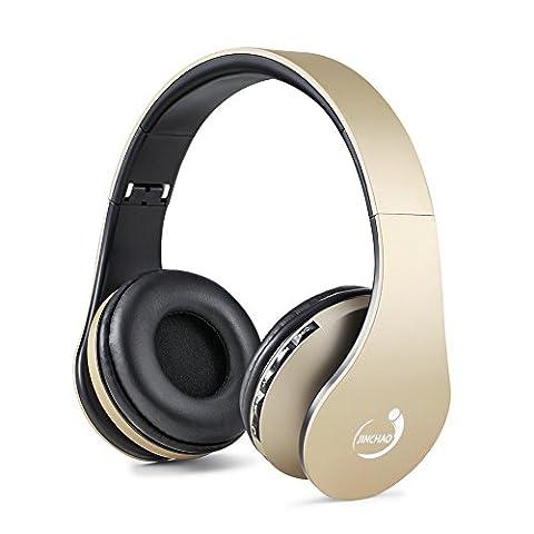 JINCHAO Bluetooth 4.0 Casque Audio Pliable Stéréo Sans Fil sur les oreilles, pas de bruit Casque d'écoute, avec la micro intérieur et contrôle du volume, avec le câble audio, compatible avec la plupart des téléphones / PC / TV / iPhone / Samsung / Ordinateur portable Oreillettes