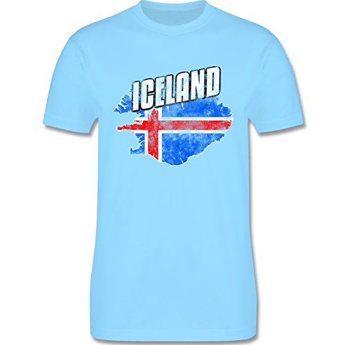EM 2016 - Frankreich - Iceland Umriss Vintage - Herren Premium T-Shirt Hellblau