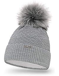 PaMaMi 18566 Bonnet d hiver en Tricot Chaud avec Pompon pour Femme Bonnet à  Pompon 4317eb33647