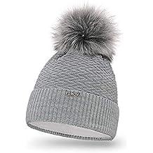 a93d923df38c PaMaMi 18566 Bonnet d hiver en Tricot Chaud avec Pompon pour Femme Bonnet à  Pompon