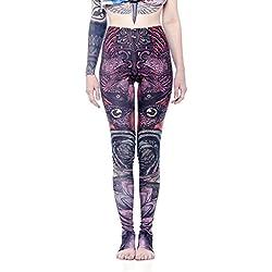 Leggings Estampados Wingorama - Leggins etnicos de Cintura Alta con alas de Colores, Ropa Alternativa de Mujer - Talla M
