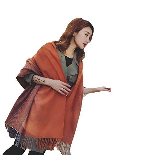 HOMEE Vertikale Streifen Übergang Farben Schals Winter warme Troddel Schal,Orange,200 * 70Cm (Vertikale Streifen-schal)