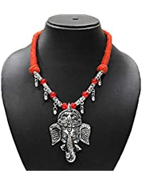AyA Fashion Designer Traditional Oxidised Silver Ganpati Necklace With Red Beads And Thread Work And With Ghungroo...