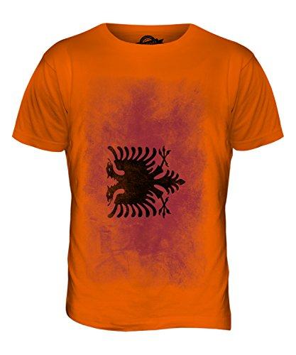 CandyMix Albanien Verblichen Flagge Herren T Shirt Orange