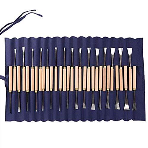 Professionelles Holzpfleger-Set mit wiederverwendbarem Tuch Pouch-31 Piece Sharp Woodworking Tools-ideal für Anfänger