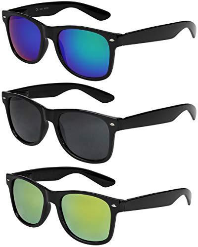 (X-CRUZE 3er Pack X0 Nerd Sonnenbrillen Vintage Retro Style Stil Design Unisex Herren Damen Männer Frauen Brillen Nerdbrille Nerdbrillen - schwarz - Set D -)