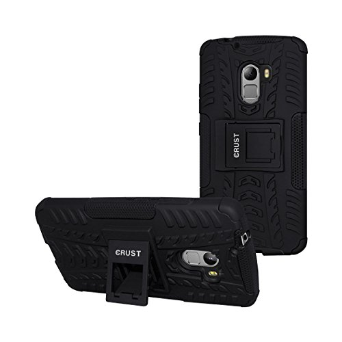 K4 Note Cover, CRUST™ Armor Case For Lenovo Vibe K4 Note, Lenovo A7010, Lenovo Vibe X3 Lite Shock Proof High Impact Kick Stand Dual Layer Hard/Soft Back Cover (Black) - Retail Packaging