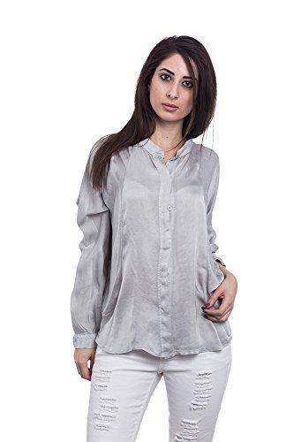 Abbino A043 Bluse Tops Donne - Prodotto in Italia - 5 colori - Eleganti Autunno Primavera Unita Leggere Manica Lunga Supera La Camicie da Sera Slim da Abito Ufficio Formali - Taglia Unica Grigio