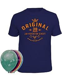 Geschenkset zum 30. Geburtstag T-Shirt und 5 Luftballons verschiedene Farben und Motive waehlbar