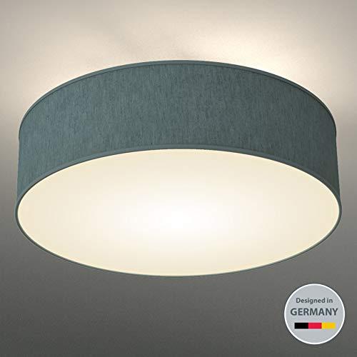 B.K.Licht Deckenleuchte 3-flammig Deckenlampe Petrol-grau rund Stoff Deckenlampe Deckenstrahler Lampe