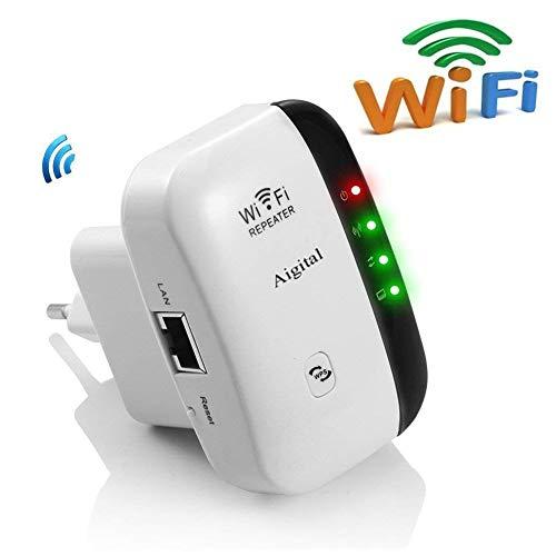 Aigital Repetidor de Red WiFi Amplificador de Cobertura 300Mbps/ 2.4GHz Extensor Inalámbrico señal Booster Repetidor con EU Enchufe Portátil Wireless Repeater(WPS, Puerto LAN, 2 Antenas Integradas)