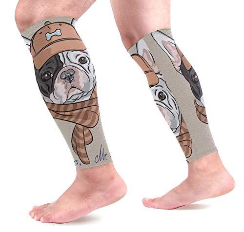 dfegyfr Cartoon Hipster Hund Französische Bulldogge Rasse Sport Waden Kompression Ärmel Beinkompression Socken Wadenschutz für Laufen, Radfahren, -