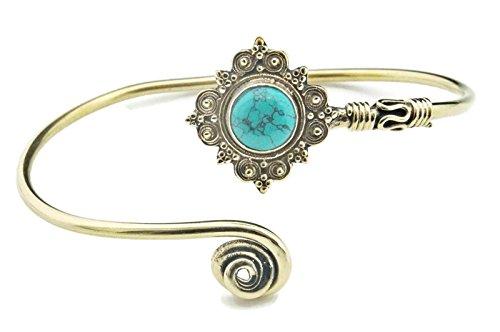 Armreif Armband Messing golden Türkis blau grün Stein