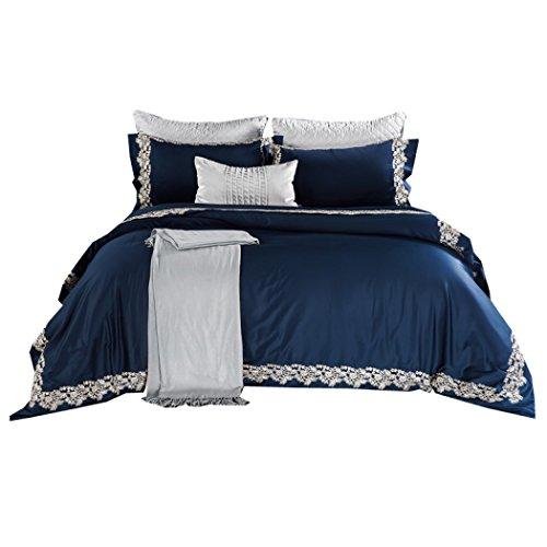 Bettwäsche Bettbezug Sets Baumwolle bestickte Spitze Bettbezug Blätter und Kissenbezüge Blätter für zu Hause, Geschenke, Hotel Luxus-Modell Zimmer Bettwäsche 4pcs,King 220*240cm