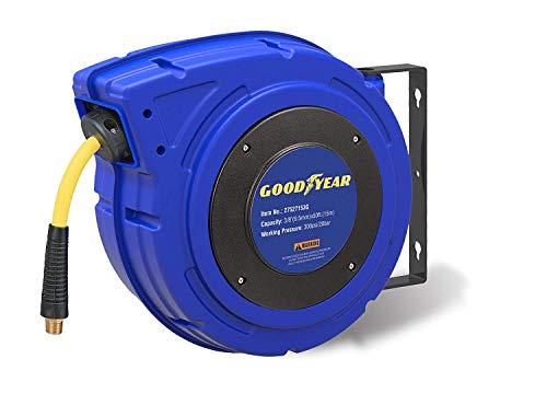 Goodyear 27527153g racchiuso retrattile aria compressore/acqua avvolgitubo con tubo da 3/8 pollici x 50 piedi ibridi polimero, max.300 psi