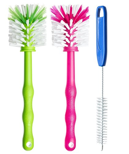 Deine Bürste - 3er Pack Reinigungsbürste - Spülbürste für Mixtopf und Mixmesser - Ideales Zubehör zum Reinigen von z.B. Thermomix ® TM5 / TM31 / TM 21 / usw je (1x Grün/ 1x Pink /1x Blau)