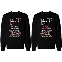 BFF Sudaderas con estampado floral para las mejores amigas