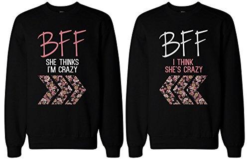 BFF regalo, accesorios de BFF–Crazy BFF Floral impresión sudaderas para mejores amigos