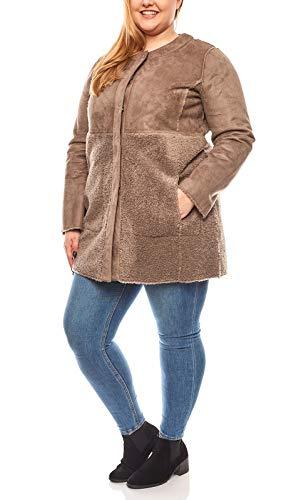 Linea TESINI kuscheliger Damen Wende-Mantel Trend-Mantel Jacke Große Größen Braun, Größenauswahl:44